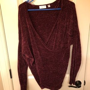 RD Style Mock Wrap Chenille Sweater